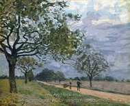 The Road from Versailles to Louveciennes painting reproduction, Alfred Sisley