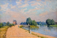 The Road to Hampton Court painting reproduction, Alfred Sisley