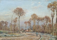 The Road to Versailles, Louveciennes, Morning Frost painting reproduction, Camille Pissarro