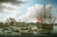 The Royal George at Deptford Showing the Launch of the Cambridge painting reproduction, John Cleveley