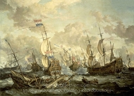 The Royal Prince and other Vessels at the Four Days Battle, 1-4 June 1666 painting reproduction, Abraham Storck