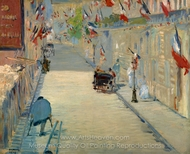 The Rue Mosnier with Flags painting reproduction, Édouard Manet
