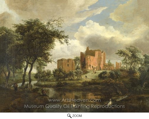Meindert Hobbema, The Ruins of Brederode Castle oil painting reproduction