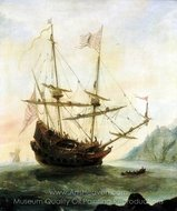 The Santa Maria at Anchor painting reproduction, Andries Van Eertvelt