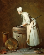 The Scullery Maid painting reproduction, Jean Simeon Chardin