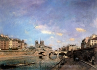 The Seine and Notre-Dame de Paris painting reproduction, Johan Barthold Jongkind