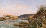 The Seine at Bougival painting reproduction, Camille Pissarro