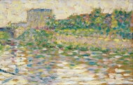 The Seine at Courbevoie painting reproduction, Georges Seurat