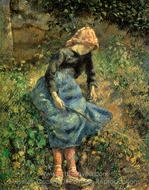 The Shepherdess (Young Peasant Girl with a Stick) painting reproduction, Camille Pissarro