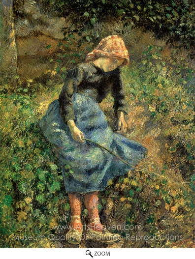 Camille Pissarro, The Shepherdess (Young Peasant Girl with a Stick) oil painting reproduction