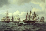 The Ship Castor and Other Vessels in a Choppy Sea painting reproduction, Thomas Luny