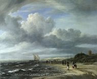 The Shore at Egmond-Aan-Zee painting reproduction, Jacob Van Ruisdael