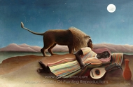 The Sleeping Gypsy painting reproduction, Henri Rousseau