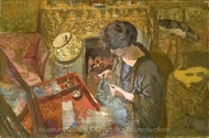 The Small Drawing-Room: Mme Hessel at Her Sewing Table painting reproduction, Edouard Vuillard