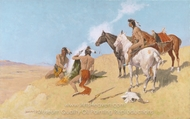 The Smoke Signal painting reproduction, Frederic Remington
