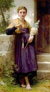 The Spinner (Fileuse) painting reproduction, William A. Bouguereau