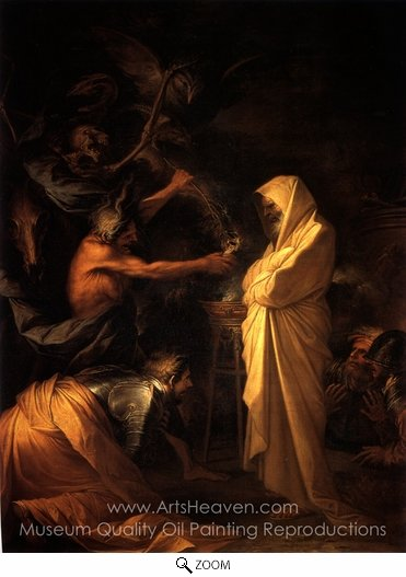 Salvator Rosa, The Spirit of Samuel Called Up Before Saul by the Witch Endor oil painting reproduction