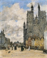 The Square of the Church of Saint Vulfran in Abbeville painting reproduction, Eugene-Louis Boudin