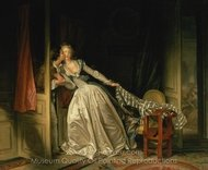 The Stolen Kiss painting reproduction, Jean-Honore Fragonard