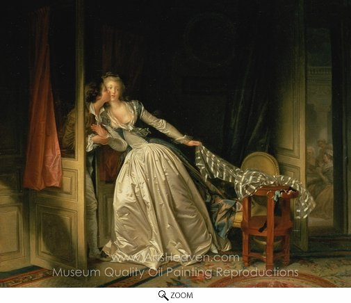 Jean-Honore Fragonard, The Stolen Kiss oil painting reproduction