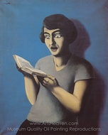 The Submissive Reader 1928 painting reproduction, Rene Magritte (inspired by)