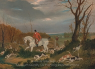 The Suffolk Hunt Going to Cover near Herringswell painting reproduction, John Frederick Herring Sr.