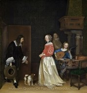 The Suitor's Visit painting reproduction, Gerard Ter Borch