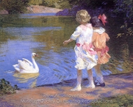 The Swan painting reproduction, Edward Henry Potthast