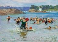 The Swimming Lesson painting reproduction, Edward Henry Potthast