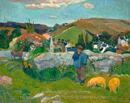 The Swineheard, Brittany painting reproduction, Paul Gauguin