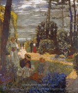 The Terrace at Casouy, the Garden painting reproduction, Edouard Vuillard