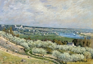 The Terrace at Saint-Germain, Spring painting reproduction, Alfred Sisley