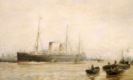 The Teutonic Leaving Liverpool painting reproduction, William Lionel Wylie