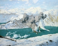 The Tirpitz Attacked by Barracudas, 3 April 1944 painting reproduction, Charles Pears