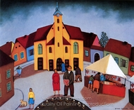 The Town Square painting reproduction, Branko Bahunek