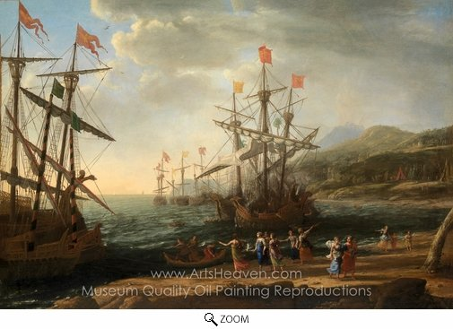 Claude Lorraine, The Trojan Women Setting Fire to Their Fleet oil painting reproduction