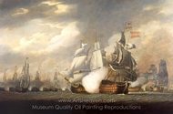 The Victory Raking the Spanish Salvador del Mundo at the Battle of Cape St. Vincent painting reproduction, Robert Cleveley
