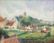 The Village of Knokke painting reproduction, Camille Pissarro