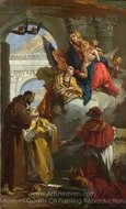 The Virgin and Child Appearing to a Group of Saints painting reproduction, Giovanni Battista Tiepolo