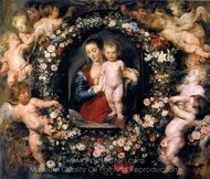 The Virgin and Child in a Garland of Flowers and Putti painting reproduction, Peter Paul Rubens