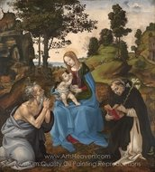 The Virgin and Child With Saints Jerome and Dominic painting reproduction, Filippino Lippi
