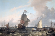 The Warship Briele on the Maas before Rotterdam painting reproduction, Ludolf Backhuysen