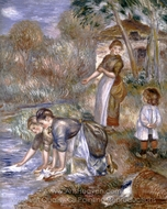 The Washerwomen painting reproduction, Pierre-Auguste Renoir