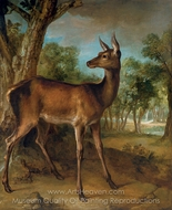 The Watchful Doe painting reproduction, Jean-Baptiste Oudry