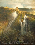The Waterfalls at Tivoli painting reproduction, Oswald Achenbach