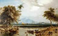 The Watering Place at Anjer Point in the Island of Java painting reproduction, William Daniell