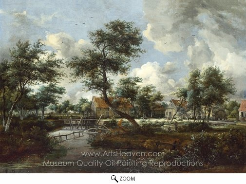 Meindert Hobbema, The Watermills at Singraven Near Denekamp oil painting reproduction