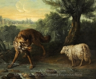 The Wolf and the Lamb painting reproduction, Jean-Baptiste Oudry