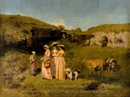 The Young Ladies of the Village painting reproduction, Gustave Courbet