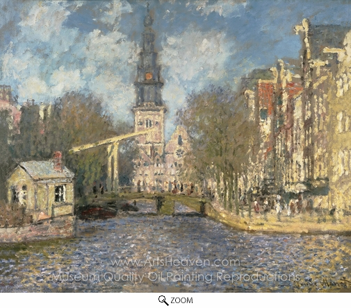 Claude Monet, The Zuiderkerk, Amsterdam (Looking up the Groenburgwal) oil painting reproduction